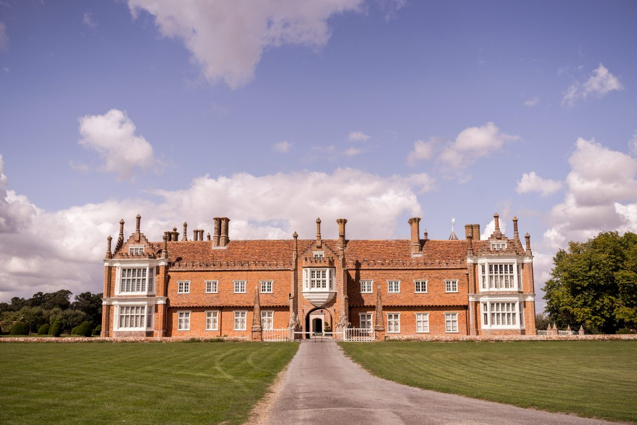 Front of Helmingham Hall In Suffolk and Drive-min
